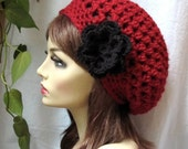 SALE Red Womens Hat, Beret, Slouchy, Black Removable Flower, Chunky, Teens, Winter, City Hat, Birthday Gifts, Gifts for Her, JE467BTF