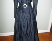 Vintage Formal Dress Size 8 Watters and Watters Extra Long Black Gorgeous Silk