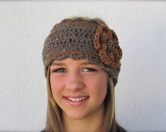 crochet headband brown headwarmer with flower - adjustable size
