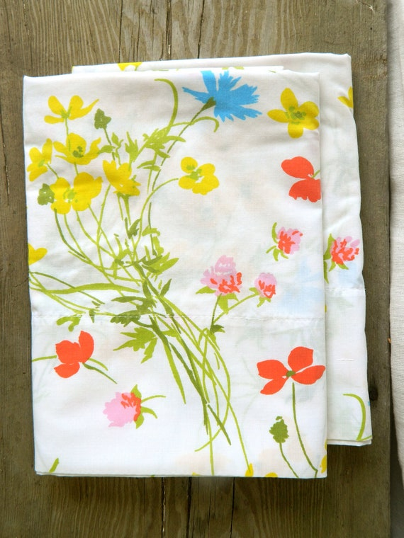 Set of Vintage King size pillowcases in bright floral