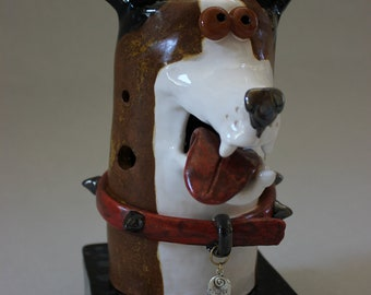 ON SALE - Candle Holder - Dog Face Item 1154 - Custom Pieces Available Upon Request
