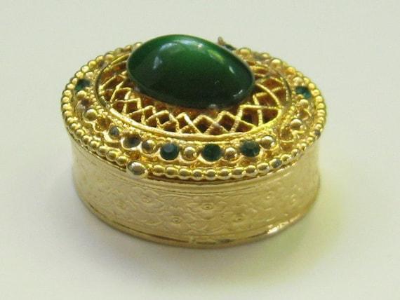Vintage Moonglow Green Cabochon Rhinestone Trinket Box