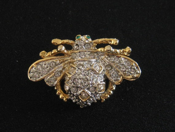 Vintage Rhinestone Bee Bug Pin Brooch