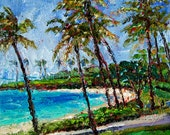 Original Painting Landscape Hawaii Modern Impressionist Tropical Beach Palette Knife