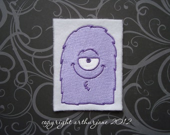 Purple Fuzzy Monster, INSTANT DOWNLOAD, Embroidery Design for Machine Embroidery 4X4