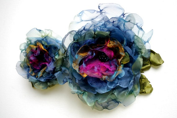Peacock-Teal blue-green-gold-pink-Set of two organza flowers-Weddings Accessories Hair Bride Bridesmaids-Brooch,fascinator,flowers for sash.