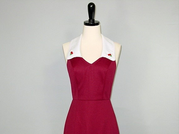 Vintage 70s Dress / Sundress / CHERRY HALTER / xs-s