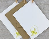 Bumble Bee Note Card Set Letterpress Insect  Bamboo Mustard Yellow Spring Lemon Honey 10 pack (NBB1)