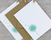 Dandelion Letterpress Notecard Set - Flower, Aqua Blue, Spring, Summer - 10 pack (NDD1)