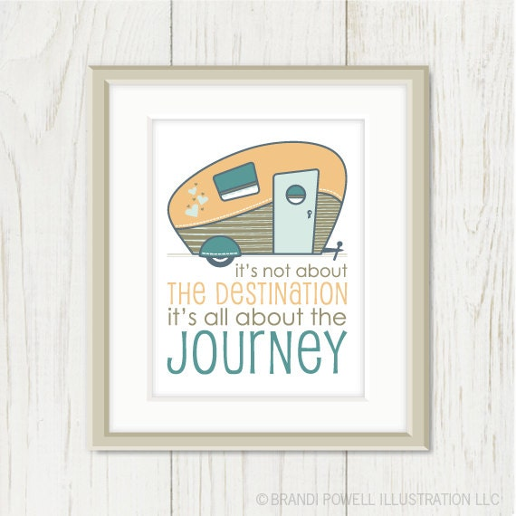 Retro Camper Typography Saying Quote - Destination Journey, Travel, Summer Vacation, Mustard Yellow, Teal Blue - 8 x 10 Wall Art Print