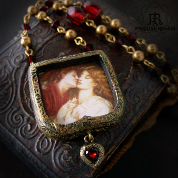 Love & Beatrice - Rossetti - Pictorial Arch Pendant