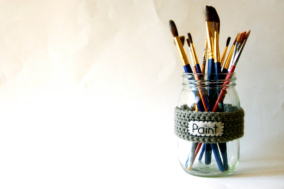Mason Jar Cozy, Office Organizer, Paintbrushes Label, Crocheted in Neutral Green