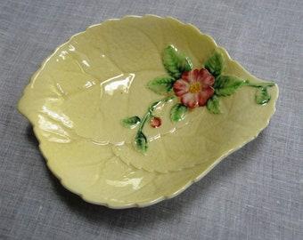 Vintage Carltonware Carlton Ware Dish Wild Rose Yellow Plate Butter Dish 1930s