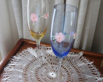 Vintage Champagne Glass Flutes Hand Painted Set of Two