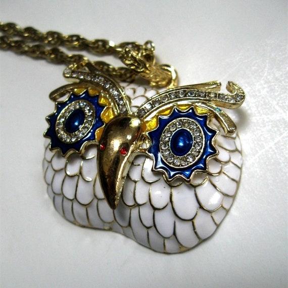 Vintage Owl Pendant Necklace Enamel Rhinestone White Blue