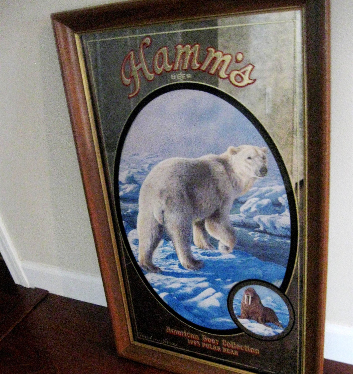 Vintage Hamms Beer Sign Mirror Polar Bear American By