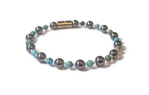 Agate and Black Magnetic Hematite Bracelet, Magnetic Bracelet, High Power Magnetic Jewelry, Hematite Health Jewelry, Hematite Anklet
