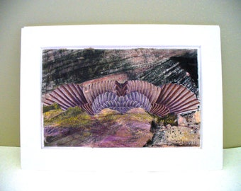 Bird Collage Feathers Wings Purple Original Mixed Media Small Original Art
