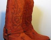 Orange Western Tall Harness Boots 8