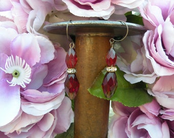 assemblage earrings vintage sabrina red glass bead recycle