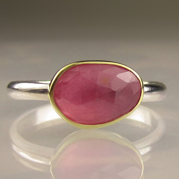 Rose Cut Pink Sapphire Gemstone Ring - 18k Gold and Sterling Silver
