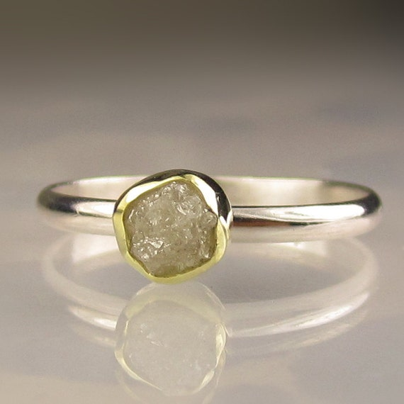 Rough Diamond Ring - Recycled 18k Gold and Palladium Sterling