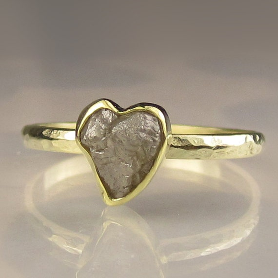 Heart Shaped Rough Diamond Ring - 18k and 14k Gold