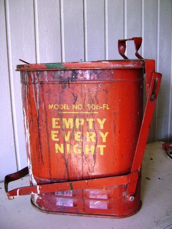 Vintage Industrial Garbage Can Red Metal Mechanic Garage