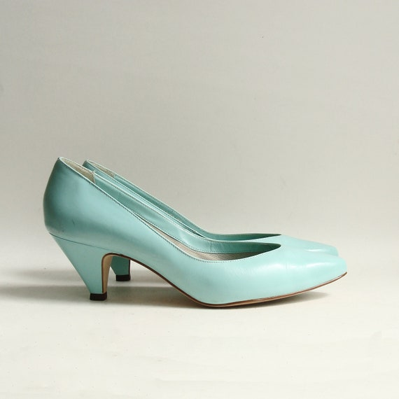 shoes 8 / seafoam green heels / 80s 1980s turquoise new wave heels / shoes size 8 / vintage shoes