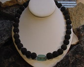 Roman Glass and Lava Bead Necklace