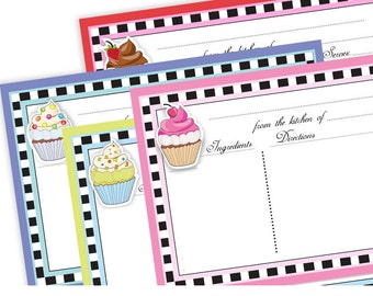 Cupcakes Recipe Cards 4X6 Typeable pdf no. 823 instant download