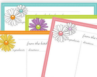 Daisy Recipe Cards 4x6 Typeable pdf - instant download - No 810