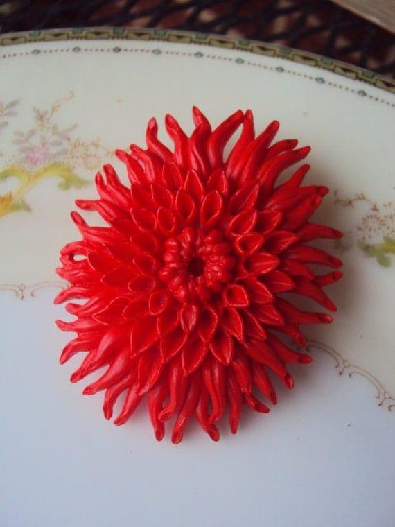 Vintage Celluloid Flower Brooch Red Orange Mum Bloom