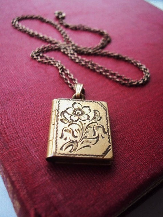 Antique Locket and chain Necklace Book Gold Filled Etched Engraved floral design