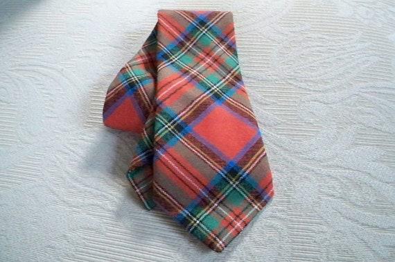 Vintage Wool Plaid Necktie Scotland Stewart Clan