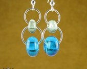 Recycled Glass Lampwork Bead Earrings Silver Plated Turquoise Blue 2 Drop Earrings