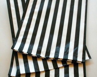 Set of 25 - Traditional Sweet Shop Black Candy Stripe Paper Bags - 5 x 7 New Style