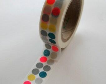 Washi Tape - 15mm - Multi and Neon Dots - Deco Paper Tape No. 372