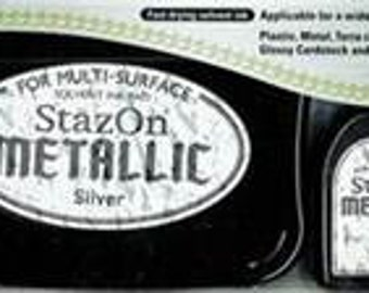 Tsukineko StazOn Solvent-Based Ink Pad in Metallic Silver
