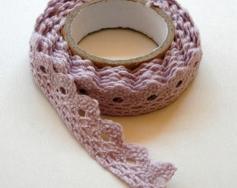 Muted Lavender Lace Fabric Tape - Crochet - Adhesive