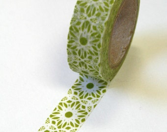Washi Tape - 15mm - Light Olive and White Large Geometric Pattern - Deco Paper Tape No. 518
