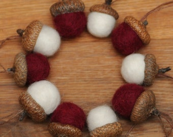 Red and White Felted Wool Acorns or Felted Acorn Ornaments, you choose