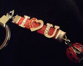 I love you love bug lady bird genuine leather ruby red heart key chain wife girlfriend fiancée anniversary valentines gift