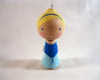 Simply Cinderella Wood Peg Kokeshi Doll Holiday Ornament Ready to ship