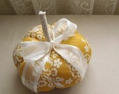 Mustard Yellow Damask Decorative Pumpkin Fall Decor