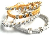 Personalized Friendship Bracelet sterling silver beads Rhinestone chain leather set of two