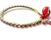 Red Crystal Leather Friendship Bracelet / Rhinestone chain Hand woven in Light green cotton / boho chic fashion  Trendy Christmas gift