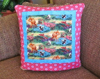 LAST ONE - Bambi and Friends Disney Kinkade QUILLOW - a personal quilt that folds into a pillow