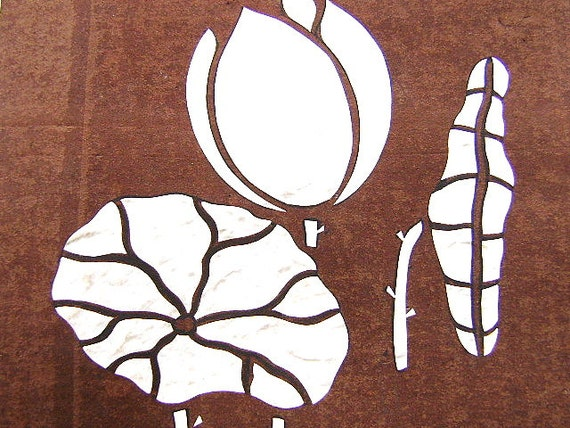 vintage japanese stencil lotus leaf flower