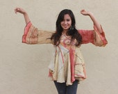 origami sculpted hand dyed linen pullover with ikat slices OOAK